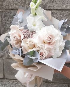 How is this muted palette! Beautiful Bouquet Of Flowers, Fresh Flowers, Dried Flowers, Beautiful Flowers, Wedding Flowers, Flower Arrangement Designs, Orchid Arrangements, Beautiful Flower Arrangements, Luxury Flowers