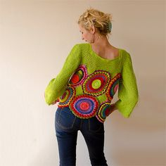 Green Blouse, Top,  Long Sleeved, Multicolored