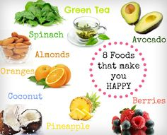 Foods for happiness and health. click for more details on eating colorfully! Eat a rainbow everyday!