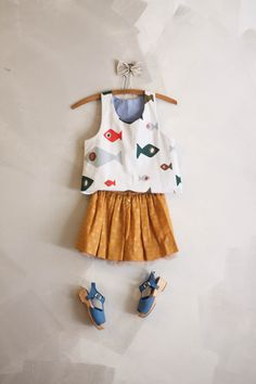 Cute summer girls outfit with Zara skirt and shoes and Amae reversible tank.
