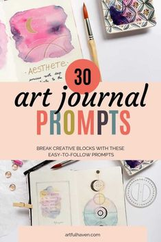 Art journal prompts and ideas for art journaling beginners. Art journal prompts for inspiration and breaking the blank page. Art Journal Pages, Art Journal Challenge, Art Journal Prompts, Art Journal Techniques, Art Journals, Journal Ideas, Sketchbook Prompts, Visual Journals, Art Journal Covers