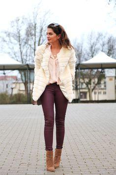 Fashionhippieloves: faux fur coat, burgundy leather jeans. Coat: Storets // Jeans: Benetton // Blouse:  // Bag: Valentino // Wedges: Sarenza // Sunglasses: Karen Walker // Watch: Michael Kors // Bracelets: Tory Burch, Kate Spade // Necklaces: Kate Spade