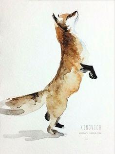 Акварельный лис лига художников, рисование, рисунок, лиса, Животные, арт, моё
