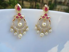 Ruby and Pearl Chandbali, Chaandbalis, Indian Jewellery, Bridal Earrings by Alankaar on Etsy https://www.etsy.com/listing/225583228/ruby-and-pearl-chandbali-chaandbalis