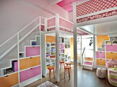 Cool wicker storages with orange stools plus huge loft bed with under stair storages in breathtaking girl room design. Bedroom Loft, Dream Bedroom, Girls Bedroom, Bedroom Ideas, Nursery Ideas, Childs Bedroom, Kid Bedrooms, Baby Bedroom, Trendy Bedroom
