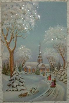 to Church in the Snow Vintage Christmas Greeting . - Christmas Jesus, churches, Vintage Cards --Walking to Church in the Snow Vintage Christmas Greeting . Vintage Christmas Images, Old Fashioned Christmas, Christmas Scenes, Christmas Past, Victorian Christmas, Retro Christmas, Christmas Holidays, Christmas Crafts, Christmas Decorations