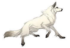 White wolf with red eyes.