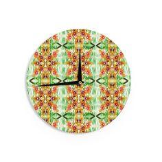 Kess InHouse Dawid Roc 'Tropical Flowers-Palm Leaves' Yellow Pattern Wall Clock (Tropical Flowers-Palm Leaves), Multi (Wood)