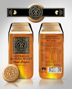 Create a high end Manuka honey label for Honey Bee Hill Co Organic Packaging, Jar Packaging, Honey Packaging, Food Packaging Design, Honey Label, Honey Bottles, Bottles And Jars, Honey Jars, Australian Honey