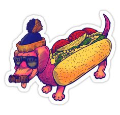Just a little chicago dog. This July 4, we're getting festive with some independent artwork from our favorite American artists.  Deck out your laptop, phone case or torso with some this tasty hot dog design, including 'The Chicago Dog' from artist nickv47. Stickers Cool, Tumblr Stickers, Laptop Stickers, Chicago, Japanese Embroidery, Horse Love, Aesthetic Stickers, Dog Design, American Artists