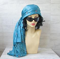 Floral embroidery Silk scarf long Turquoise Turban Womens
