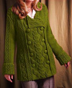 Womens Hand Knit Wool Coat.32F