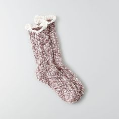 AEO Crew Socks ($9.95) ❤ liked on Polyvore featuring intimates, hosiery, socks, maroon, american eagle outfitters, maroon crew socks, maroon socks and crew socks