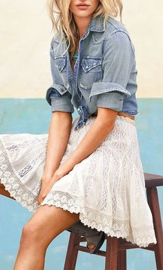 Lace skirt with chambray shirt