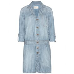 Current/Elliott - The Mechanical denim playsuit - 'The Mechanical' denim playsuit from Current/Elliott is a cool downtime staple. The striped denim is slimming, while the short style will elongate legs to perfection. Wear open with a jersey top underneath for a cool, casual vibe. seen @ www.mytheresa.com.