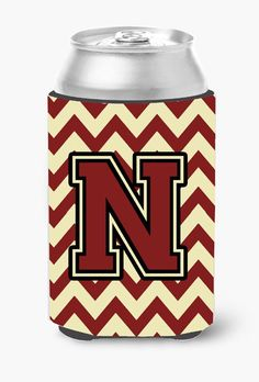 Letter N Chevron Maroon and Gold Can or Bottle Hugger CJ1061-NCC