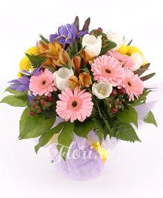 Bucuria culorilor Gerbera, Iris, Floral Wreath, Wreaths, Decor, Irise, Decoration, Irises, Decorating