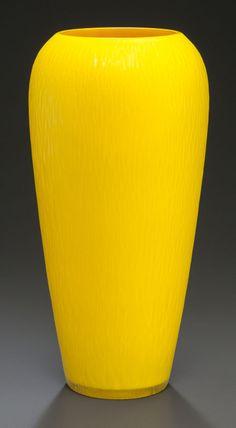 Carlo Scarpa - Venini glass molato yellow baluster vase. circa 1940.