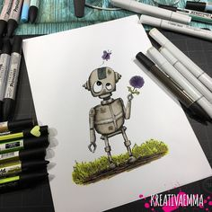 I wonder who he is going to give the flower to..? this is one of my first attempt at #drawing #robots   yay or nay?