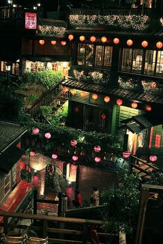 Taiwan, Jiufen 九份.  Its downtown was used as a model in the anime movie Spirited Away. It was one of the few places I was in in Taiwan where I thought I would die of panic and beauty at the same time. Soooo many people.