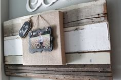 DIY instructions on how to make a burlap and slate picture frame on reclaimed wood
