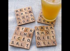Scrabble coasters backed by cork, how cheap and cute!