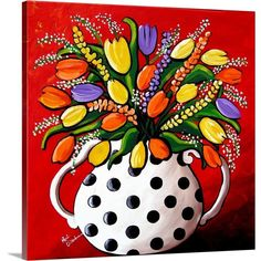 Items similar to Tulips and Spring Flowers Whimsical Colorful Folk Art Giclee Print on Etsy Abstract Canvas, Canvas Art, Canvas Prints, Big Canvas, Buy Prints, Art Floral, Polka Dot Art, Polka Dots, Art Fantaisiste