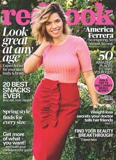 """""""Superstore"""" actress America Ferrera covers the March 2017 issue of Redbook magazine photographed by Jeff Lipsky. On finding balance: When I was you"""