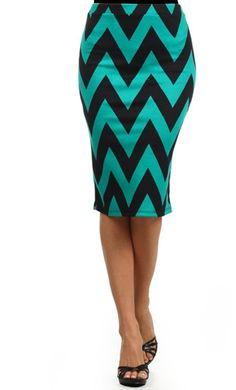 womens modest chevron print mid length pencil skirts with banded waist