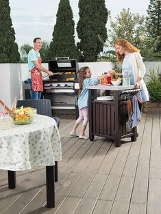 Keter Unity Portable Outdoor Table and Storage Cabinet with Hooks for Grill Accessories-Stainless Steel Top for Patio Kitchen Island or Bar Cart, Espresso Brown Grill Cart, Bbq Grill, Grilling, Patio Kitchen, Outdoor Kitchen Design, Outdoor Tables, Indoor Outdoor, Outdoor Trash Cans, Grill Station