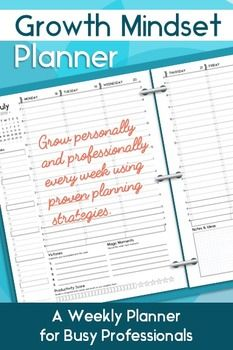 For all my teacher friends PIN THIS NOW!!  The Growth Mindset Planner is a fantastic way to manage your crazy busy schedule, focus on achieving results, and (of course) reinforce a growth mindset.