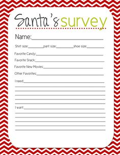 Santa's Survey - Keep everyone's info all together to make shopping lots easier!