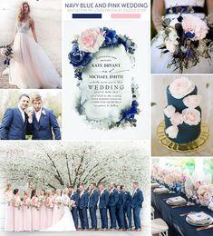 Navy and Pink Wedding Ideas <br> Elegant navy blue and pink flowers wedding invitations Blue And Blush Wedding, Pink Wedding Theme, Spring Wedding Colors, Pink Wedding Invitations, Blush Pink Weddings, Boho Wedding, Dream Wedding, Gold Weddings, Rustic Wedding