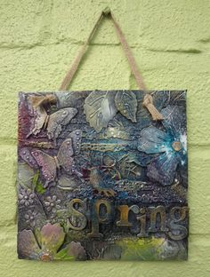 Mixed Media Spring wall plaque by LindsayMasondesigns on Etsy
