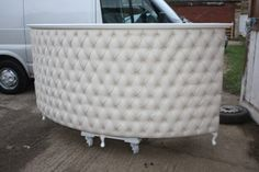 tufted shabby chic retail cash desk. good idea to check ebay for these things