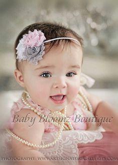 3 rose fabric infant headband. Pink, grey, & white