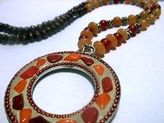 Red and Yellow Necklace  Indian Summer by waterflowingwest on Etsy, $16.00