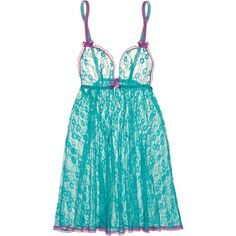 L'Agent by Agent Provocateur Monica lace chemise (865 ZAR) ❤ liked on Polyvore featuring intimates, chemises, teal, lace slips, lace chemise and lacy slips