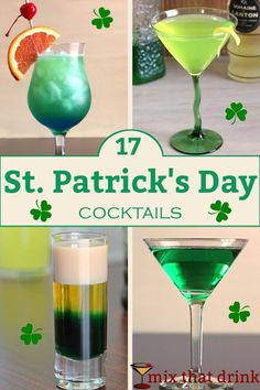 Patrick's Day cocktails You may think of the usual St. Patrick's Day drink as green beer. But we have a variety of St. Patrick's Day cocktails for those of you who feel there's a limit on how much green beer one can enjoy. St Patricks Day Drinks, St Patricks Day Food, Saint Patricks, Holiday Drinks, Fun Drinks, Beverages, St Patrick's Day Cocktails, Green Cocktails, Green Alcoholic Drinks