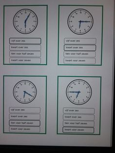Kwartet klok kijken hele, halve uren, kwartieren en minuten. Te downloaden van… Math Numbers, Creative Teaching, Math Classroom, Circuit, Slg, Education, Holland, Onderwijs, Learning
