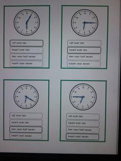 Kwartet klok kijken hele, halve uren,  kwartieren en minuten. Te downloaden van digischool.