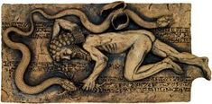 This is a visual representation of the snake stealing the plant of immortality as Gilgamesh is unconscious.