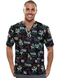 printed nursing scrub top from Cherokee Tooniforms. Designed for both men and women. Halloween Scrubs, Halloween Kids, Medical Scrubs, Nursing Scrubs, My Future Career, Cute Scrubs, Scrubs Uniform, Male Nurse, Scrub Life