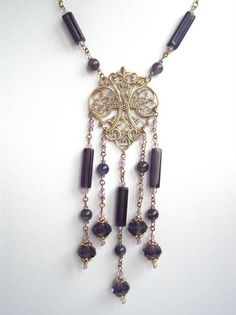 Items similar to Purple middle-length necklace, victorian style, amethyst and crystal beads, golden brass - Hand made by kalani on Etsy Filigree Jewelry, Jewellery, Swarovski Crystal Beads, Mi Long, Brass Chain, Violet, Victorian Fashion, Jewelry Making, Pendants