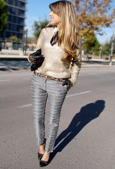 Gold and Silver  , Lefties in Sweaters, Bershka in Shirt / Blouses, Primark in Belts, Mango in Pants, Blanco in Heels / Wedges, Zara in Gloves