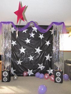 Created a stage and each guest received a blow up microphone. We turned on Hannah Montana music and let them sing and dance Created a stage and each guest received a blow up microphone. We turned on Hannah Montana music and let them sing and Dance Party Kids, Dance Party Birthday, 10th Birthday Parties, Birthday Party Themes, Birthday Ideas, Karaoke Party, Music Party, Sleepover Party, Rock And Roll Birthday