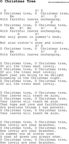 Christmas Songs and Carols, lyrics with chords for guitar banjo for O Christmas Tree