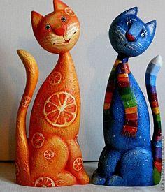 Кошка и кот Скульптура дерево  ручная роспись-1. Автор Виталий Корякин.