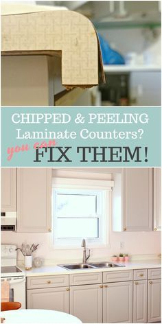 Do you have chipped and peeling counters? Need to fix your laminate counters but don& know how? Check out this laminate countertops redo! Learn how to repair and refinish & Read More The post How to Repair and Refinish Laminate Counters Painting Laminate Countertops, Bathroom Countertops, Redo Laminate Cabinets, Laminate Cabinet Makeover, Formica Cabinets, Grey Cabinets, Cupboards, Interior Simple, Home Interior