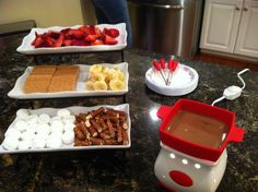 Chocolate Fondue Party! Someone can bring stuff for a party and have chocolate to be something to bring as a kit